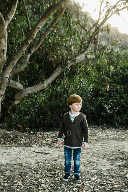 A little boy stands outside