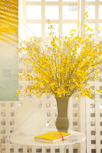 A large bouquet of yellow flowers