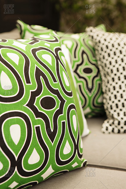 Patterned throw pillows on a couch