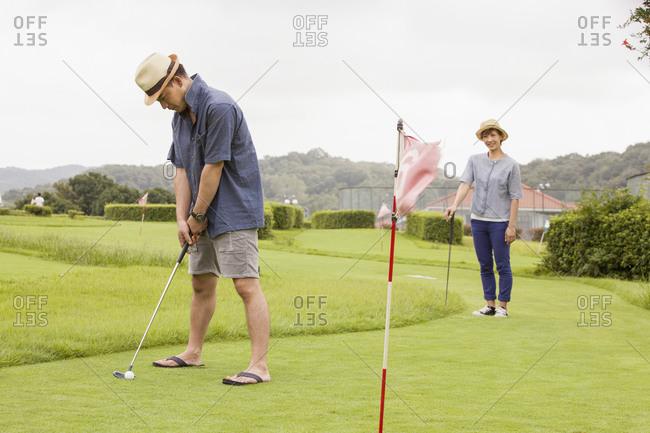 Couple on a golf course