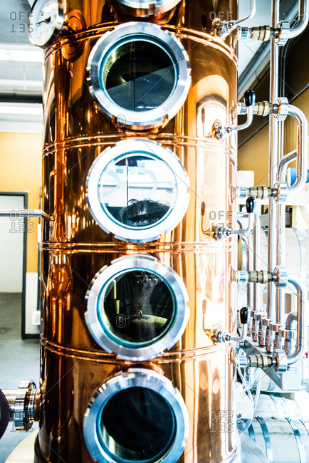 Distillery equipment in a brewing company