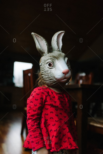 Little girl wearing a rabbit mask