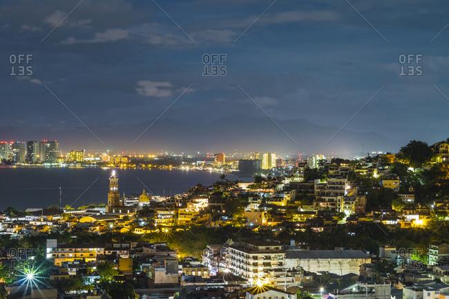 Puerto Vallarta at night in Jalisco, Mexico