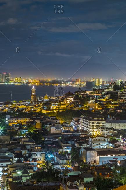View of Puerto Vallarta at night in Jalisco, Mexico