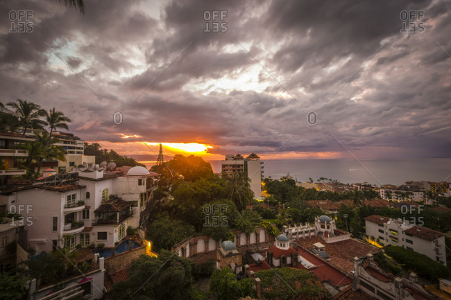 View of Puerto Vallarta at sunset in Jalisco, Mexico