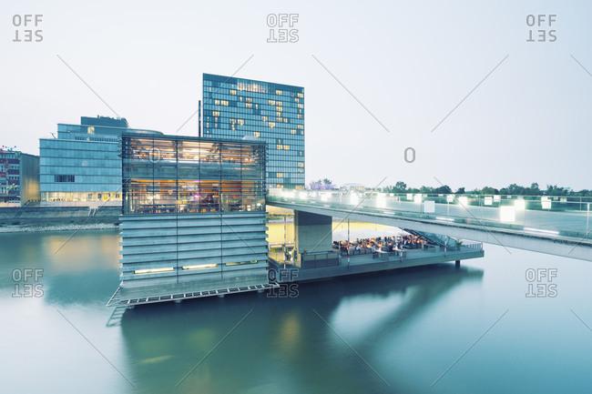Restaurant at The Living Bridge in Dusseldorf, Germany