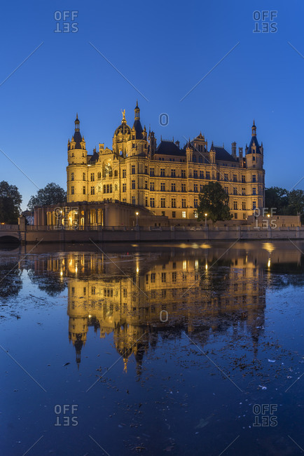 Schwerin Palace at night, Germany