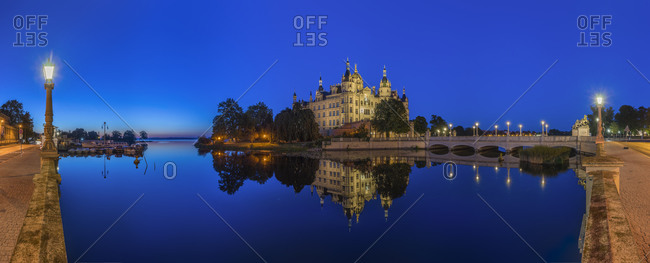 Schwerin Palace in the evening