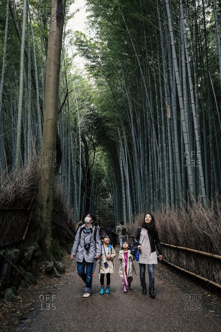 Kyoto, Japan - March 30, 2014: Family walking in bamboo forest