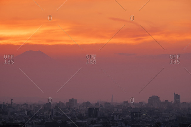 Sunset over Tokyo and Mount Fuji