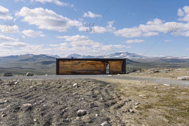Hjerkinn, Norway - August 16, 2012: Norwegian Wild Reindeer Centre Pavilion at the Snohetta mountain massif in Norway
