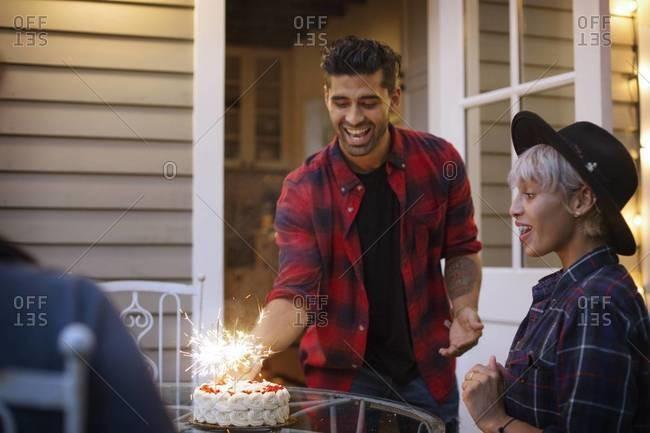 Friends celebrate a birthday