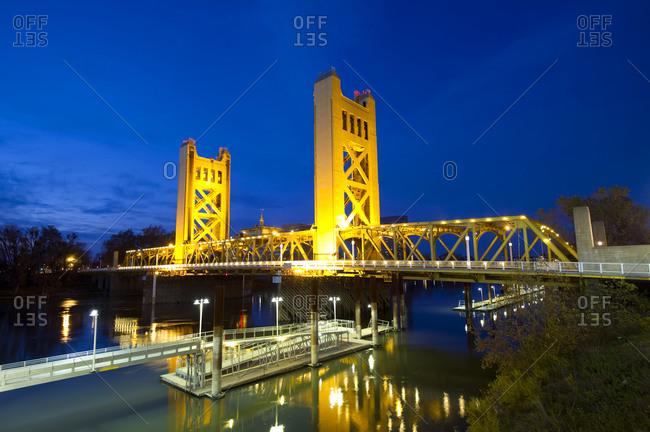 Sacramento, California - December 12, 2011: The famous Tower Bridge illuminated at dusk
