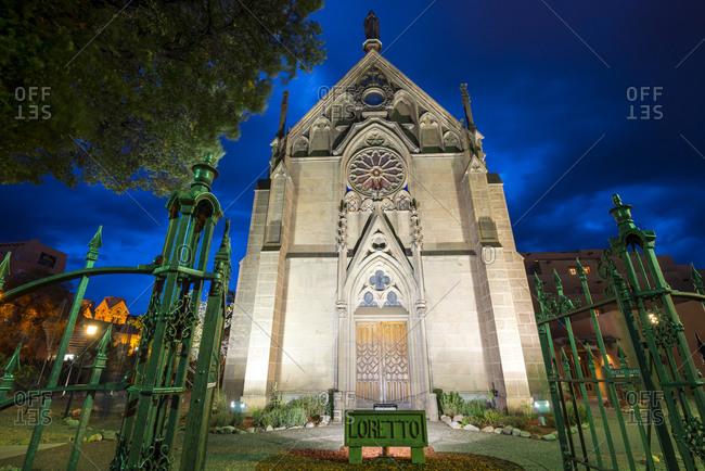 Santa Fe, New Mexico - September 28, 2014: The historic Loretto Chapel illuminated at night
