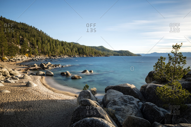 View of beach on the east shore of Lake Tahoe, Nevada
