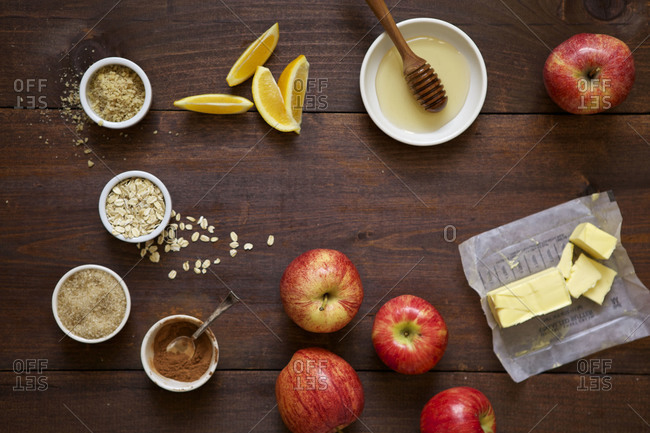 Ingredients for an apple crumble