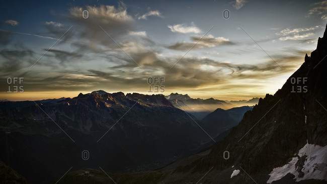Sunrise on the Aiguilles Rouges seen from the Frendo Spur, Chamonix, France