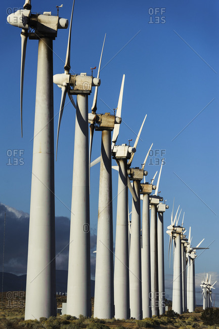Row of wind turbines on a California wind farm