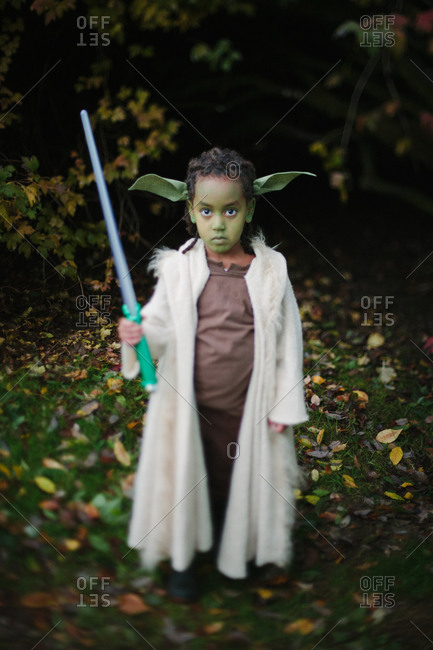 October 31, 2014: Little girl dressed as Yoda