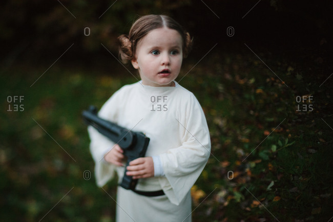 October 31, 2014: Little girl dressed as Princess Leia
