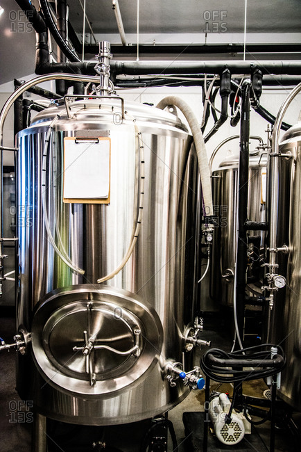 View of fermenting containers in a brewery