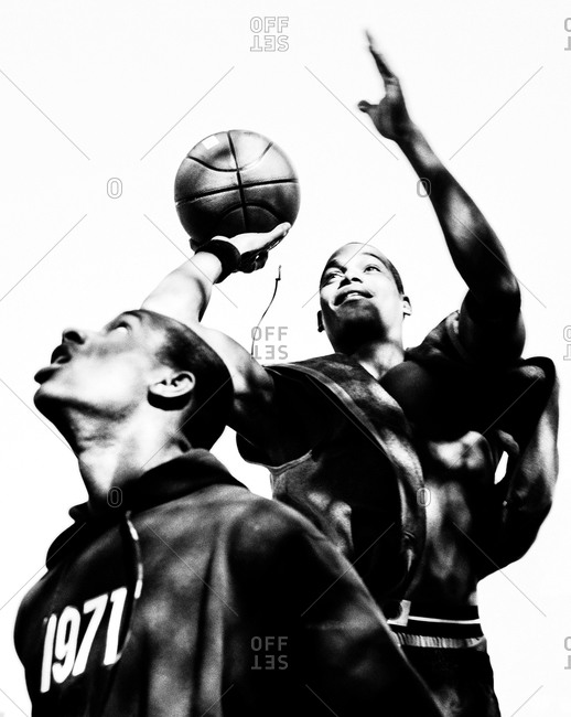 New York, New York - March 20, 2006: Two teen boys playing a pick up basketball game