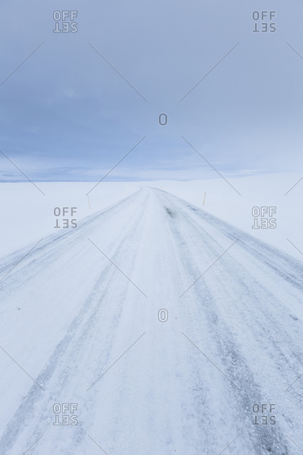 Tire tracks in snow in Iceland