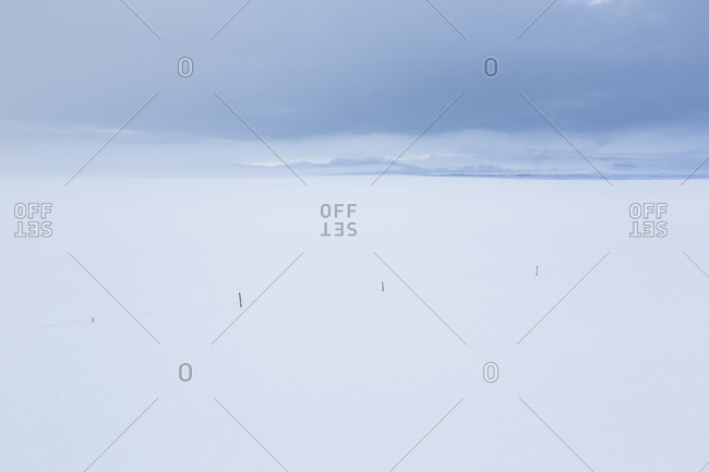 Desolate snowy Icelandic field