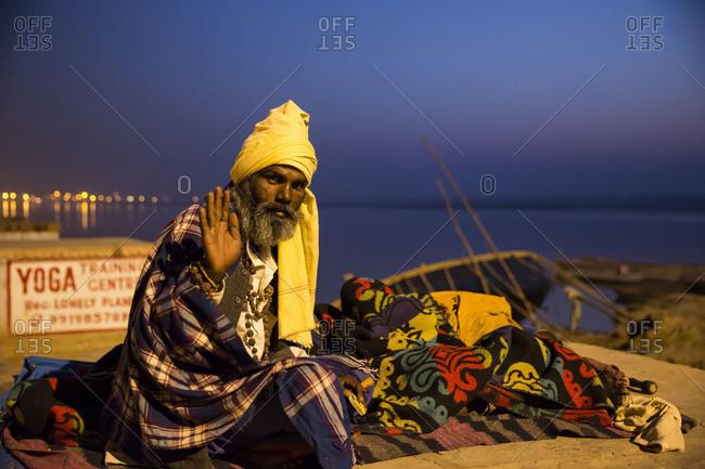 Varanasi, India - March 8, 2014: Homeless at dawn in Varanasi, India