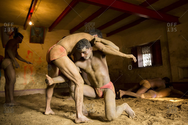 Varanasi, India - March 8, 2014: Kushti wrestlers practicing, Varanasi, India