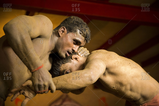 Varanasi, India - March 8, 2014: Close up of Kushti wrestlers fighting, Varanasi, India