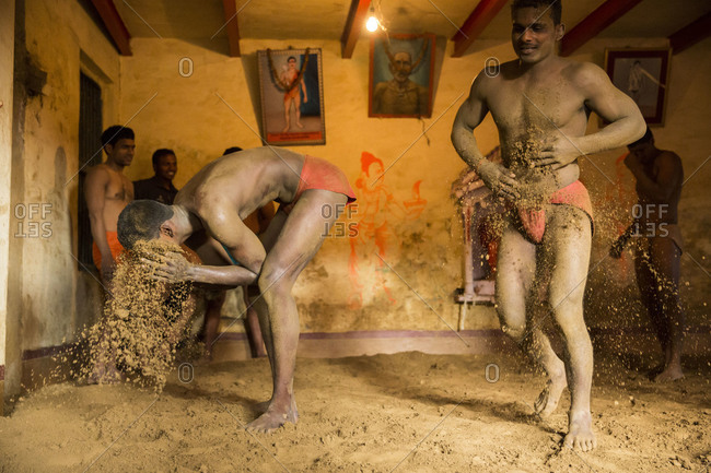 Varanasi, India - March 8, 2014: Kushti wrestlers preparing for a fight, Varanasi, India