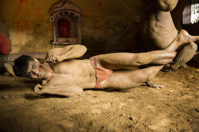 Varanasi, India - March 8, 2014: Kushti wrestlers during a fight in Varanasi, Varanasi, India