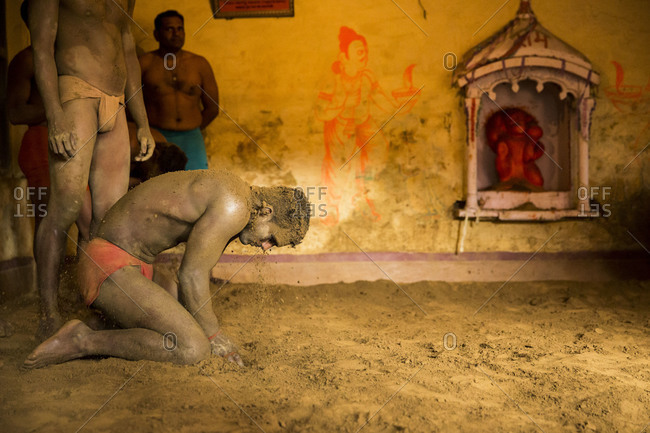 Varanasi, India - March 8, 2014: Kushti wrestler getting ready to fight, Varanasi, India
