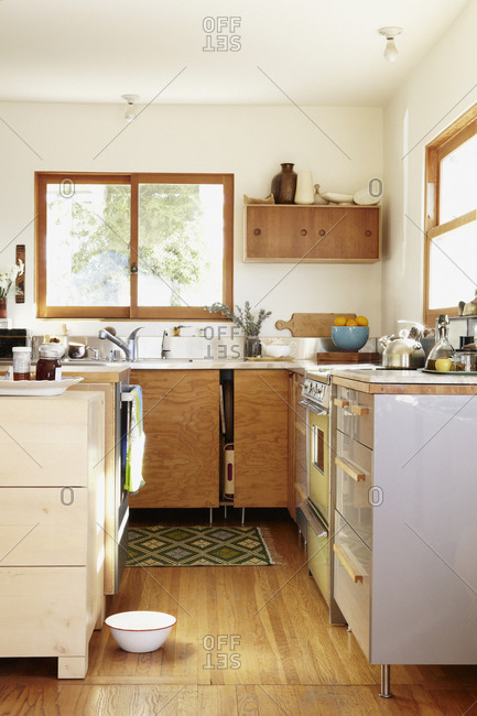A natural wood and stainless steel kitchen