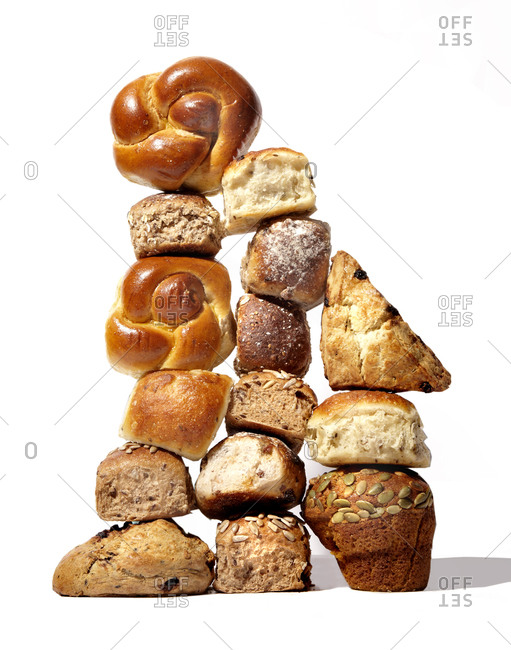 A stack of bread products