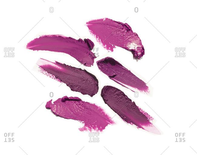 Purple lipstick smudges