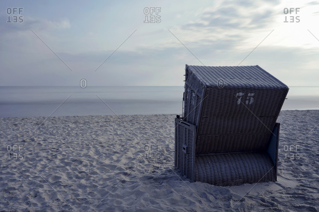 Single hooded beach chair at Baltic seaside resort Binz