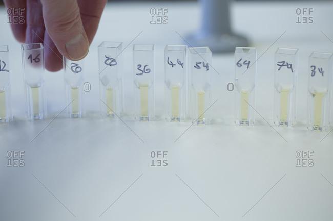 Female scientist preparing tubes for spectrometer in a laboratory