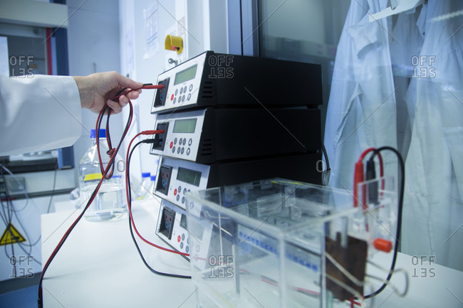 Female technician working at biochemistry laboratory