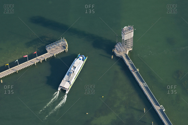 Aerial view of catamaran at harbor entrance, Lake Constance
