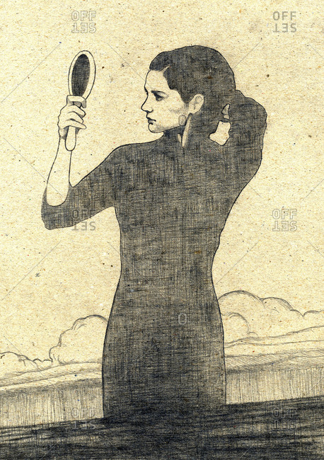 Illustration of woman checking her hair