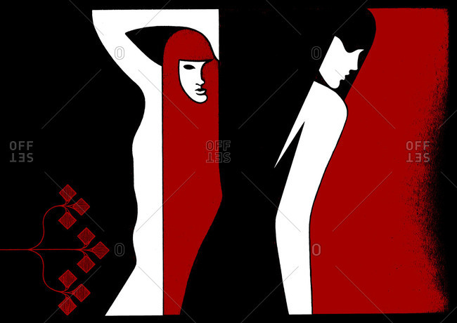 Abstract illustration of two women