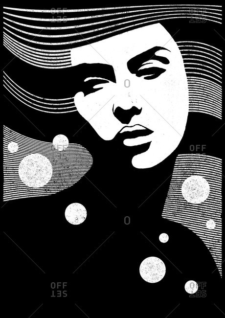 Woman's face with wavy lines