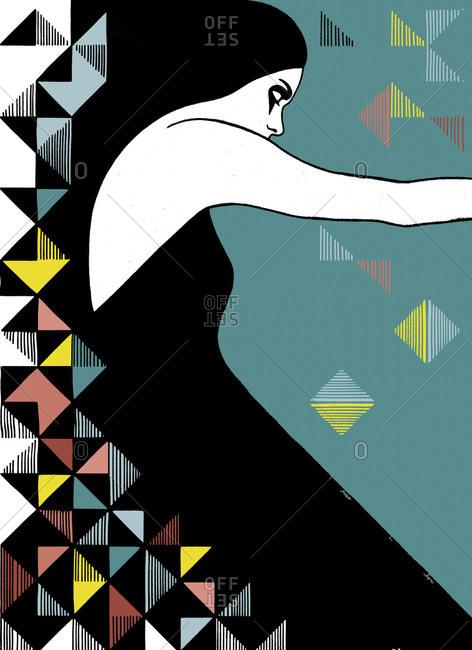 Geometric illustration of woman
