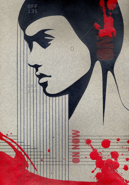 Abstract artwork of woman listening to music