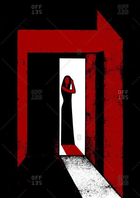 Abstract artwork of woman in doorway