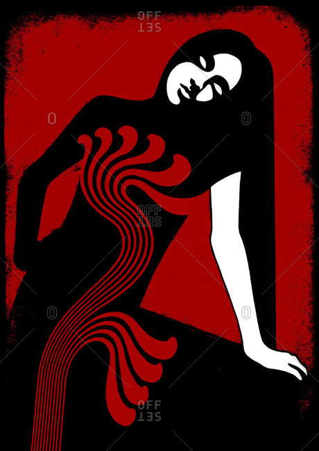 Illustration of resting woman