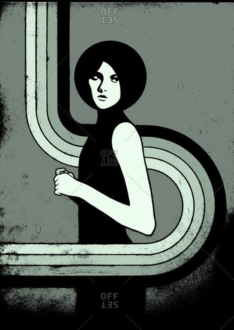 Illustration of retro woman