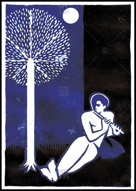 Illustration of man playing flute under tree